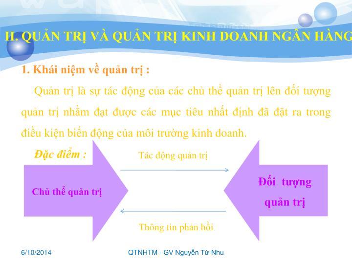 II. QUẢN TRỊ VÀ QUẢN TRỊ KINH DOANH NGÂN HÀNG
