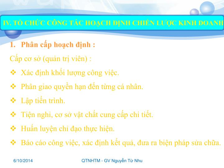IV. TỔ CHỨC CÔNG TÁC HOẠCH ĐỊNH CHIẾN LƯỢC KINH DOANH
