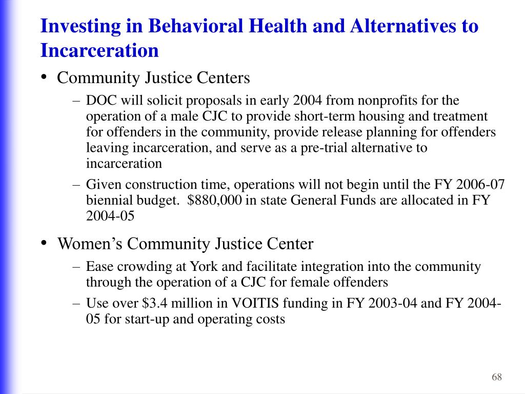 Investing in Behavioral Health and Alternatives to Incarceration