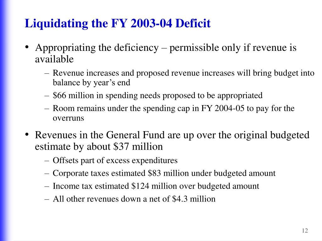 Liquidating the FY 2003-04 Deficit