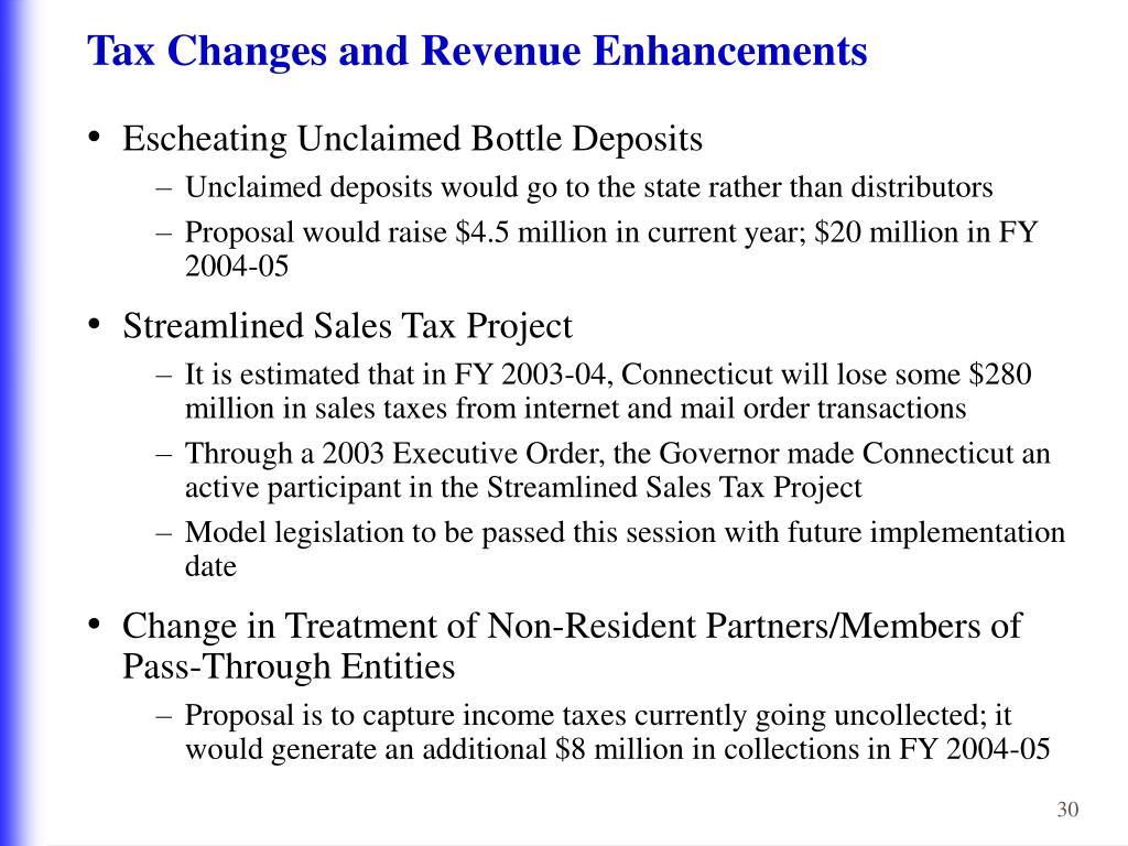 Tax Changes and Revenue Enhancements