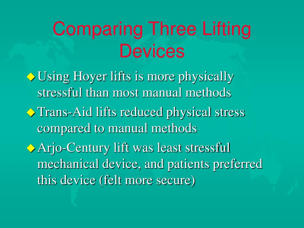 Comparing Three Lifting Devices