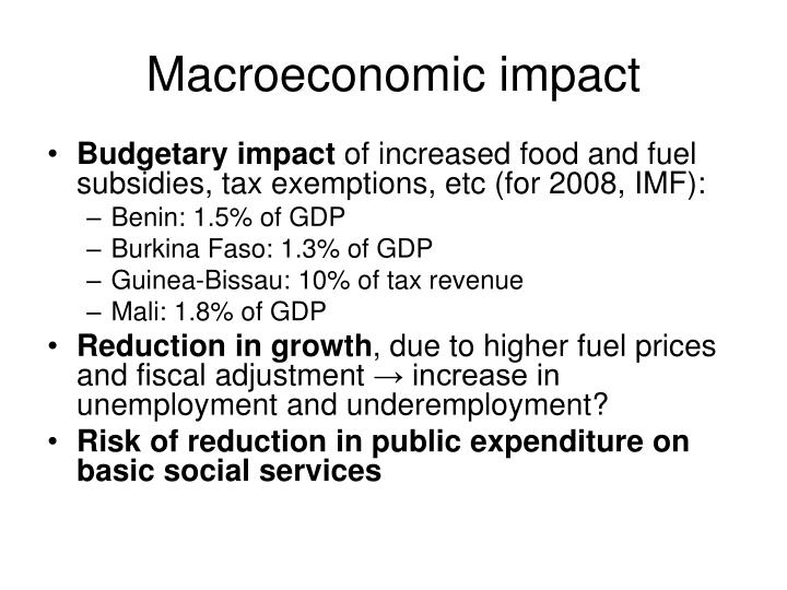 Macroeconomic impact
