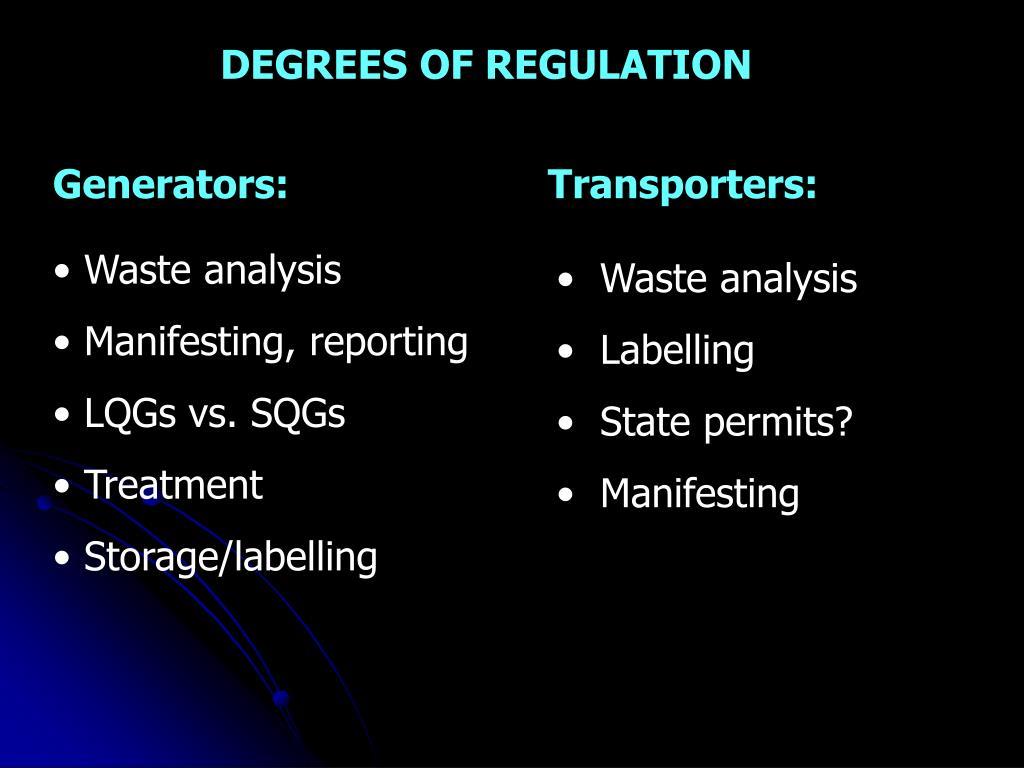 DEGREES OF REGULATION