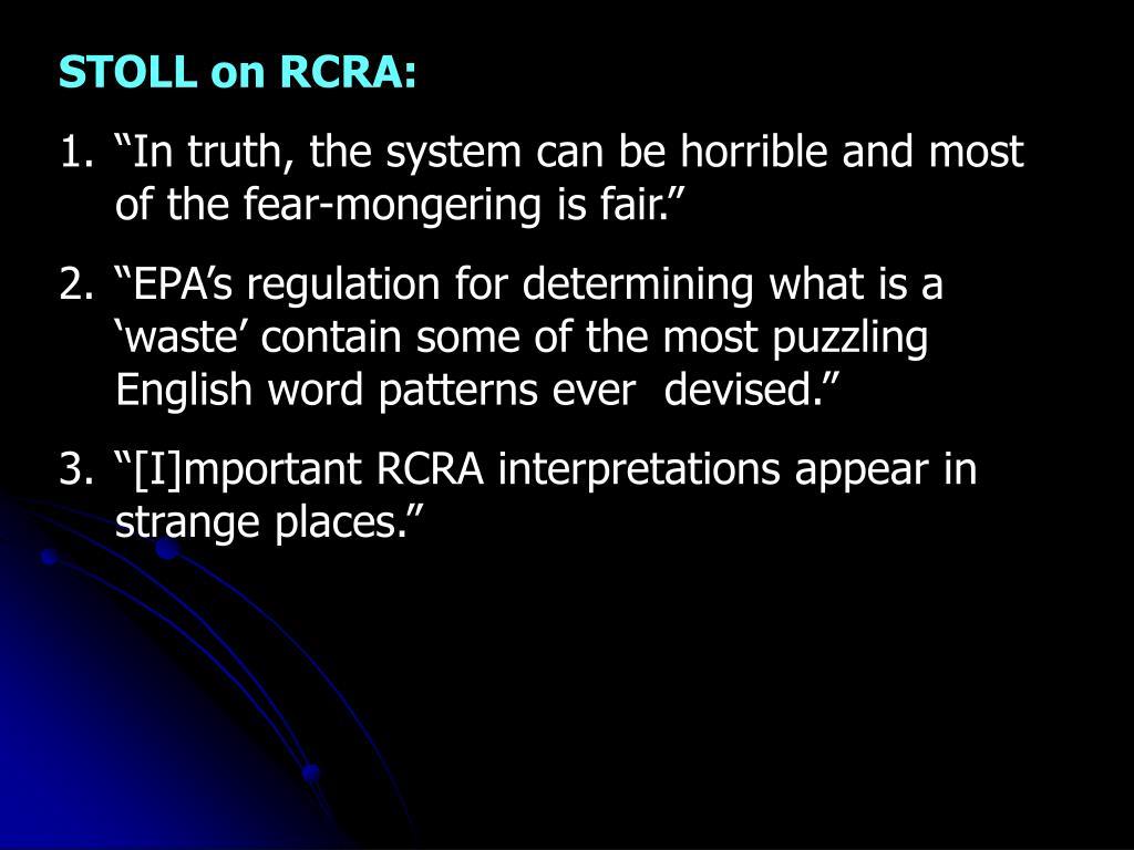 STOLL on RCRA: