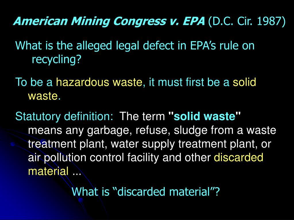 American Mining Congress v. EPA