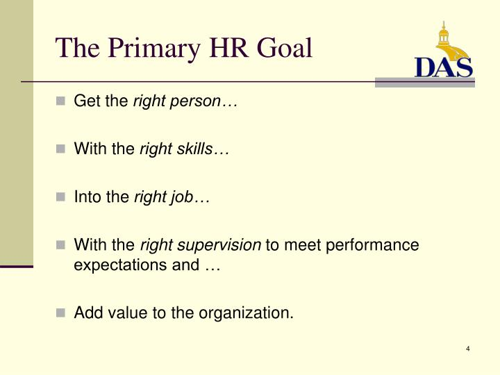 The Primary HR Goal