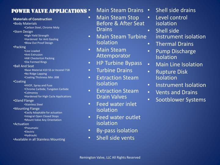 Power Valve Applications
