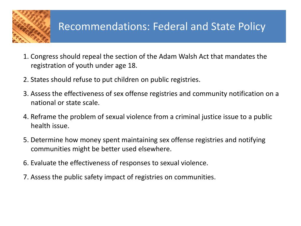 Recommendations: Federal and State Policy