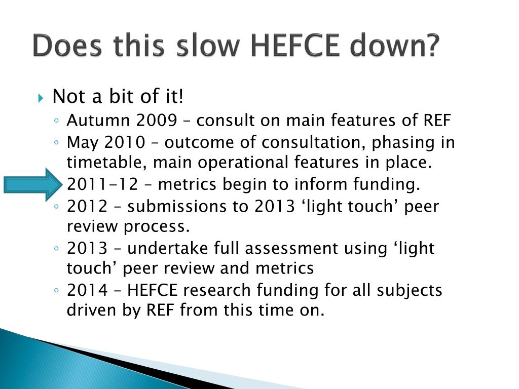 Does this slow HEFCE down?