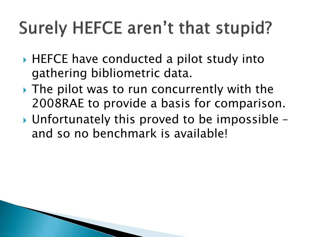 Surely HEFCE aren't that stupid?