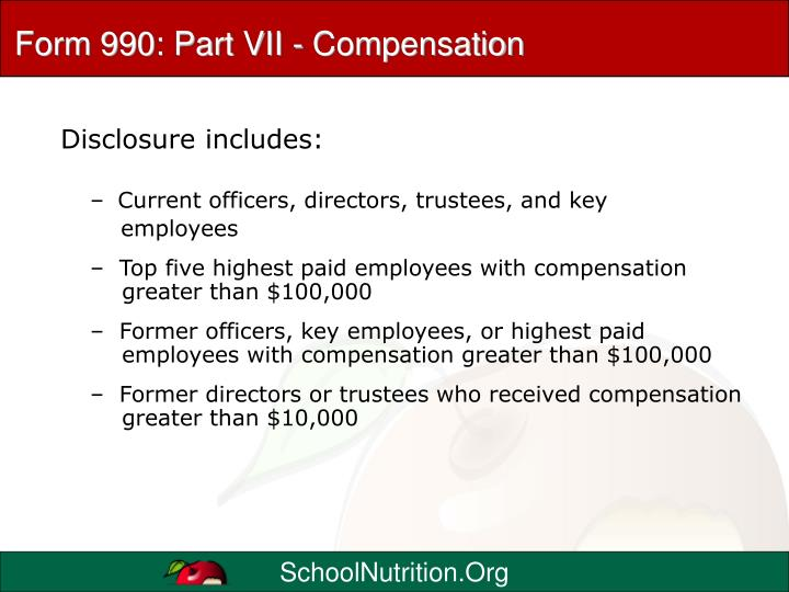 Form 990: Part VII - Compensation