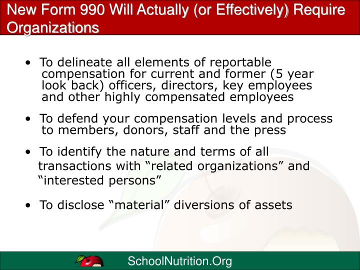 New Form 990 Will Actually (or Effectively) Require Organizations