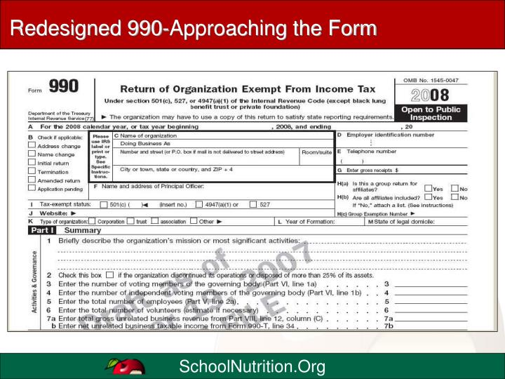 Redesigned 990-Approaching the Form