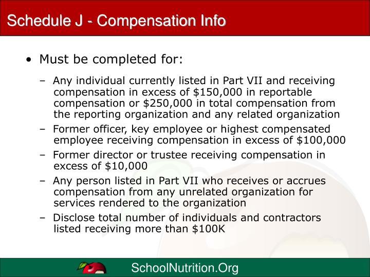 Schedule J - Compensation Info