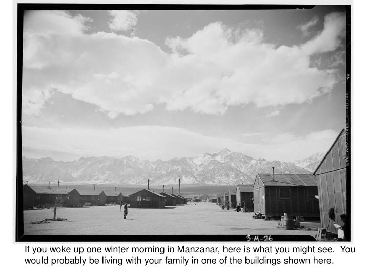 If you woke up one winter morning in Manzanar, here is what you might see.  You