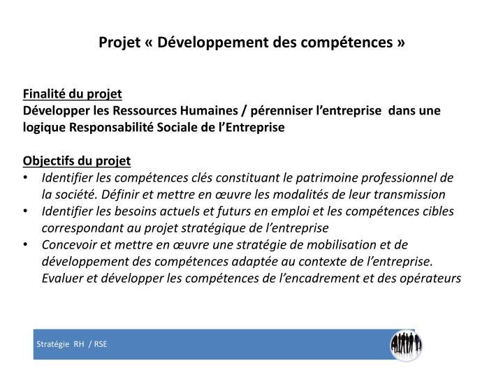 Projet «Développement des compétences»