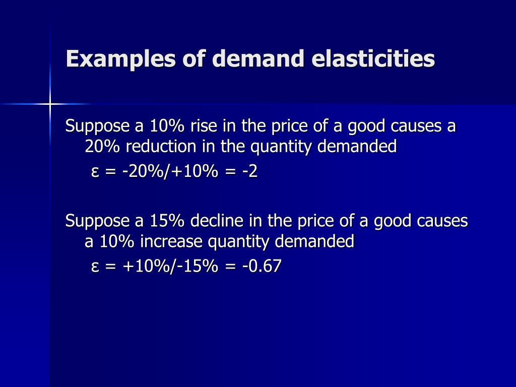 Examples of demand elasticities