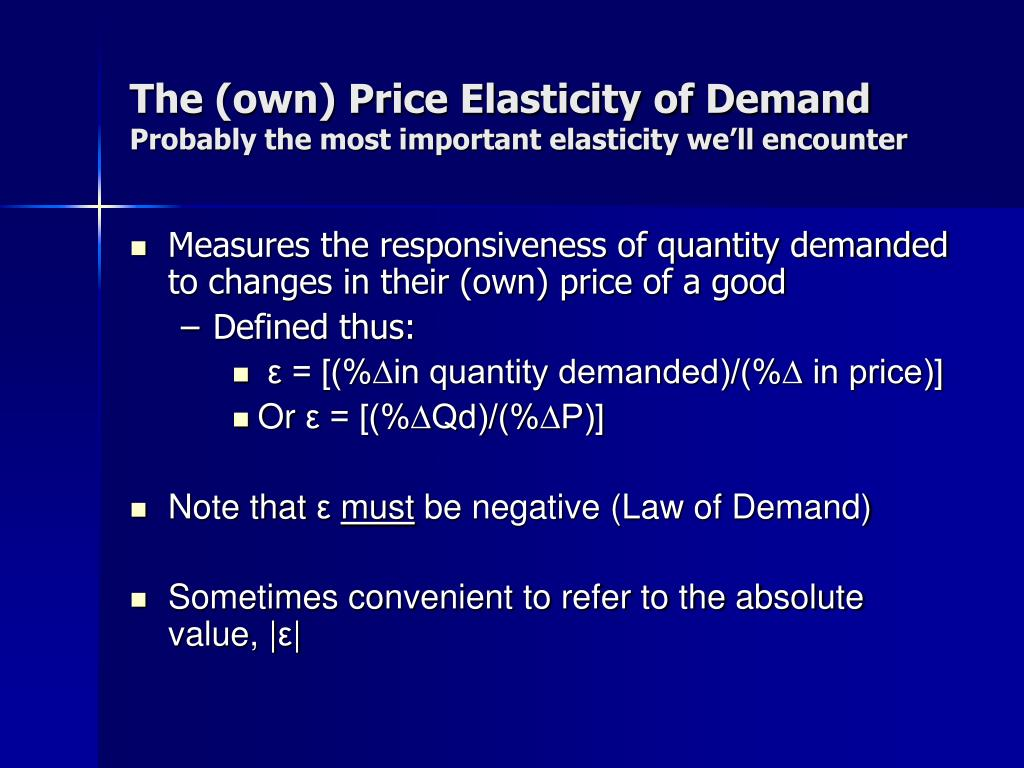 The (own) Price Elasticity of Demand