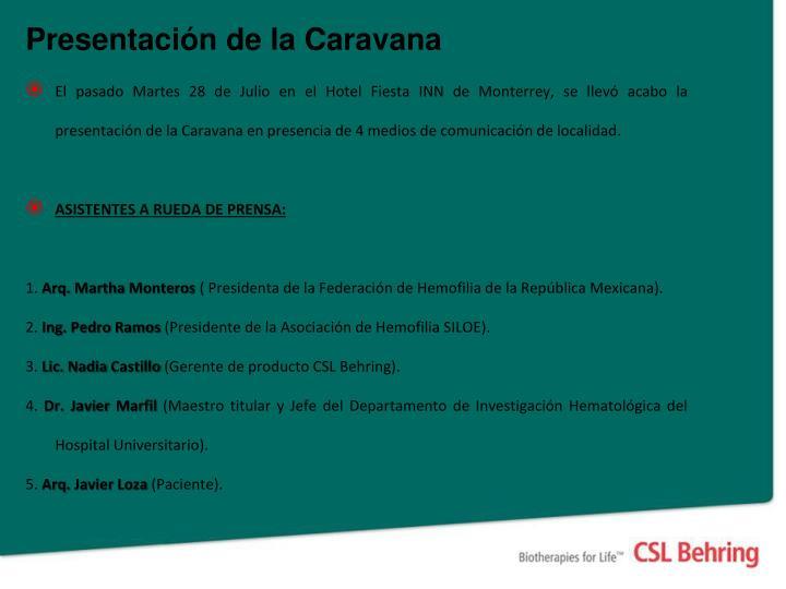 Presentación de la Caravana