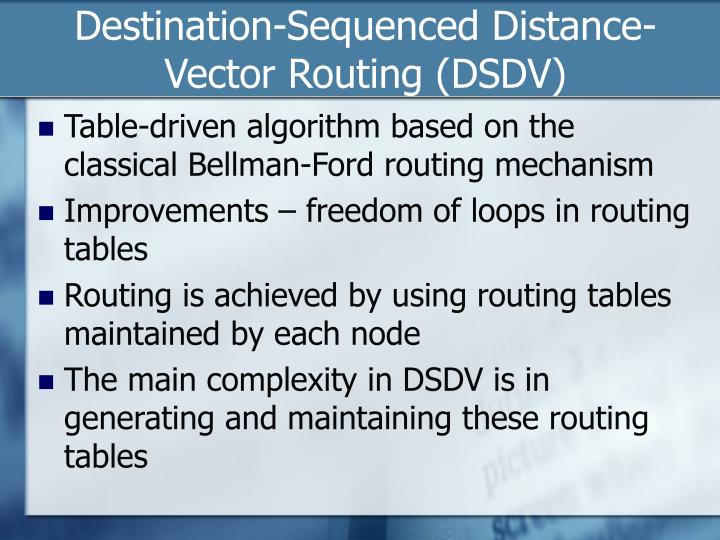Destination-Sequenced Distance-Vector Routing (DSDV)
