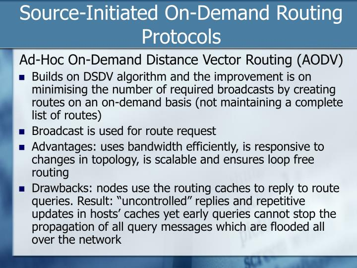 Source-Initiated On-Demand Routing Protocols