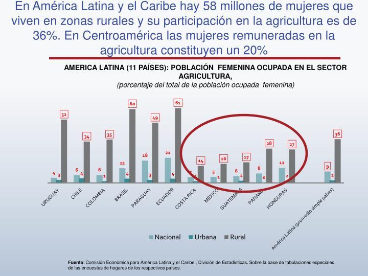 En América Latina y el Caribe hay 58 millones de mujeres que viven en zonas rurales y su participación en la agricultura es de 36%. En Centroamérica las mujeres remuneradas en la agricultura constituyen un 20%