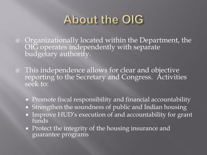 About the oig