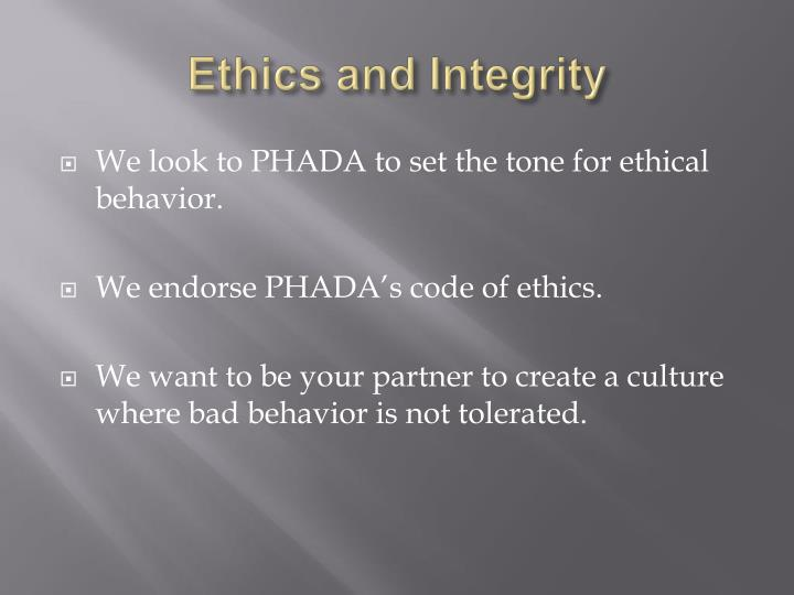 Ethics and Integrity
