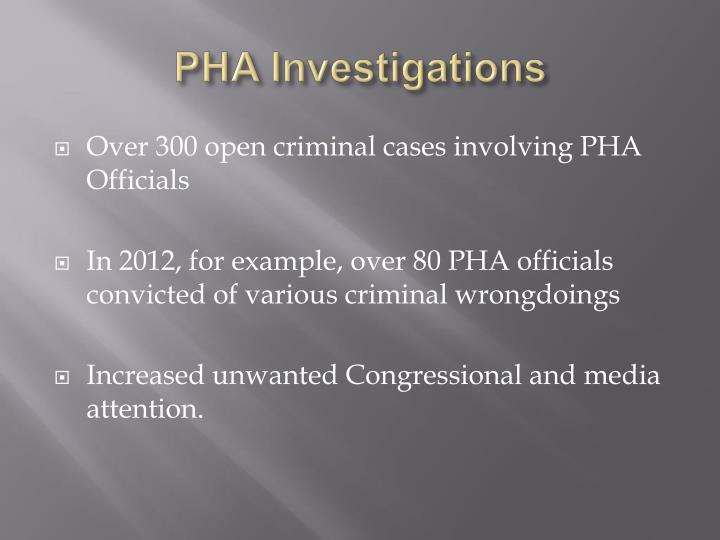 PHA Investigations