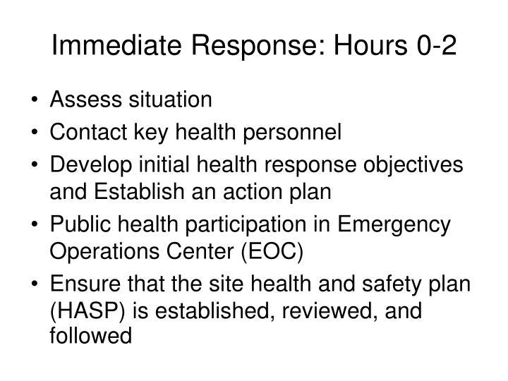 Immediate Response: Hours 0-2