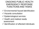 ongoing public health emergency response functions and tasks