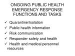 ongoing public health emergency response functions and tasks2