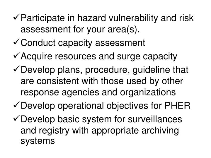 Participate in hazard vulnerability and risk assessment for your area(s).