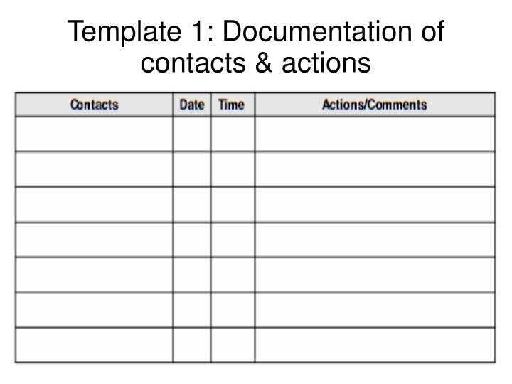 Template 1: Documentation of contacts & actions
