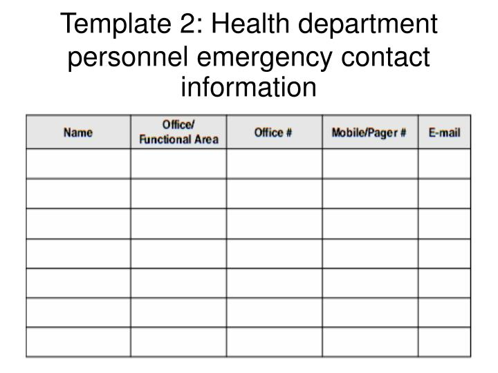 Template 2: Health department personnel emergency contact information