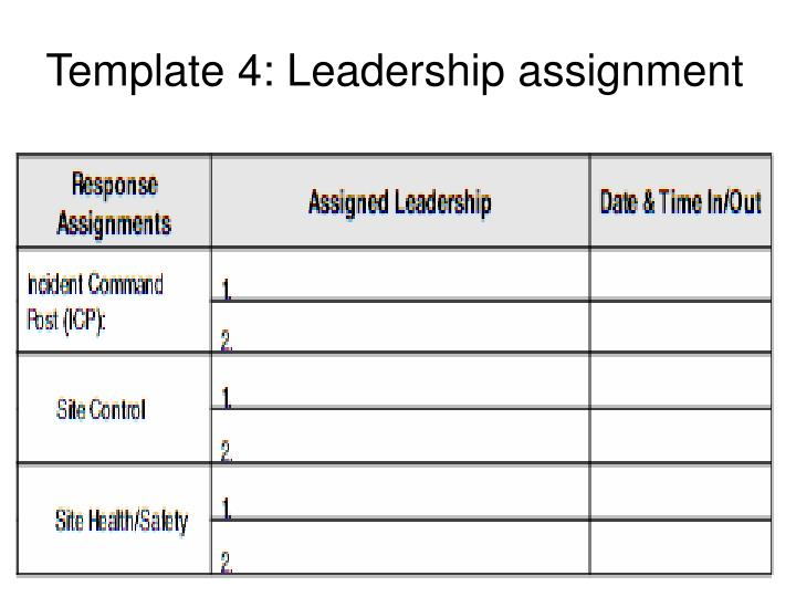 Template 4: Leadership assignment