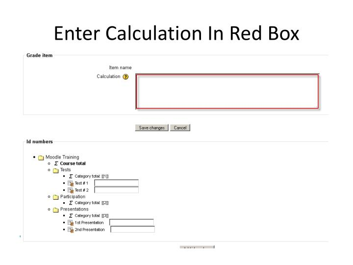 Enter Calculation In Red Box