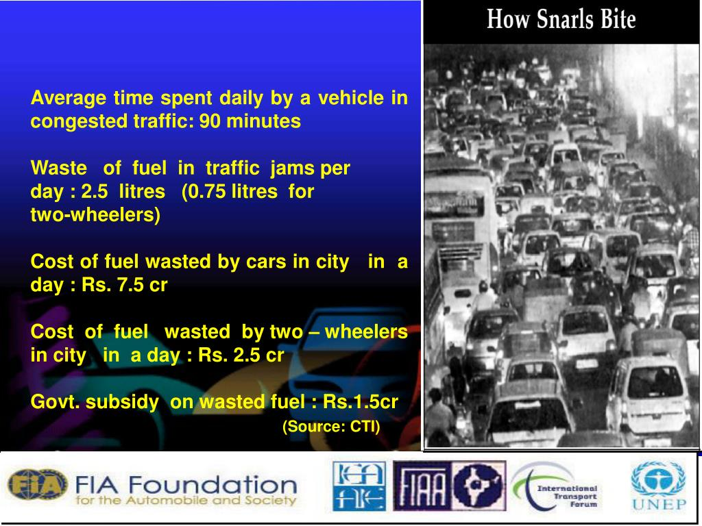Average time spent daily by a vehicle in congested traffic: 90 minutes