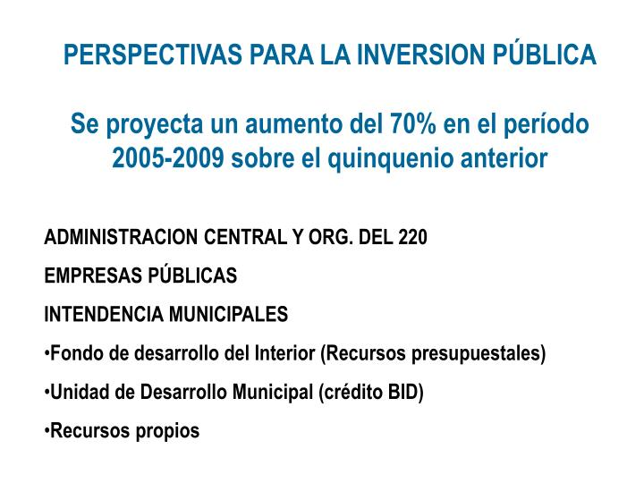 PERSPECTIVAS PARA LA INVERSION PÚBLICA