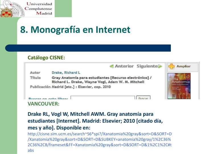 8. Monografía en Internet