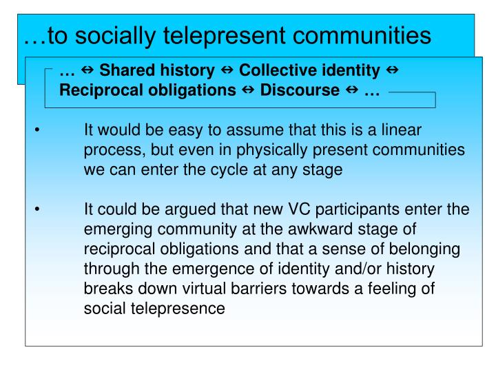…to socially telepresent communities