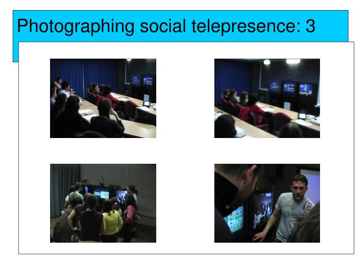Photographing social telepresence: 3