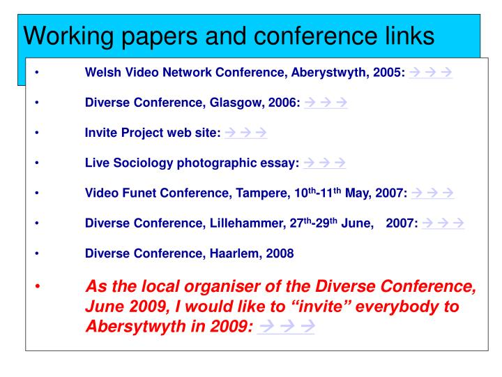 Working papers and conference links