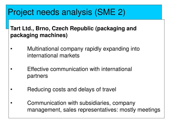 Project needs analysis (SME 2)
