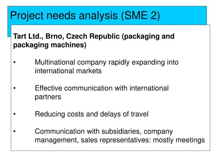 Project needs analysis (SME 2)