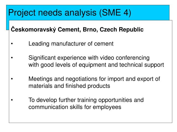 Project needs analysis (SME 4)