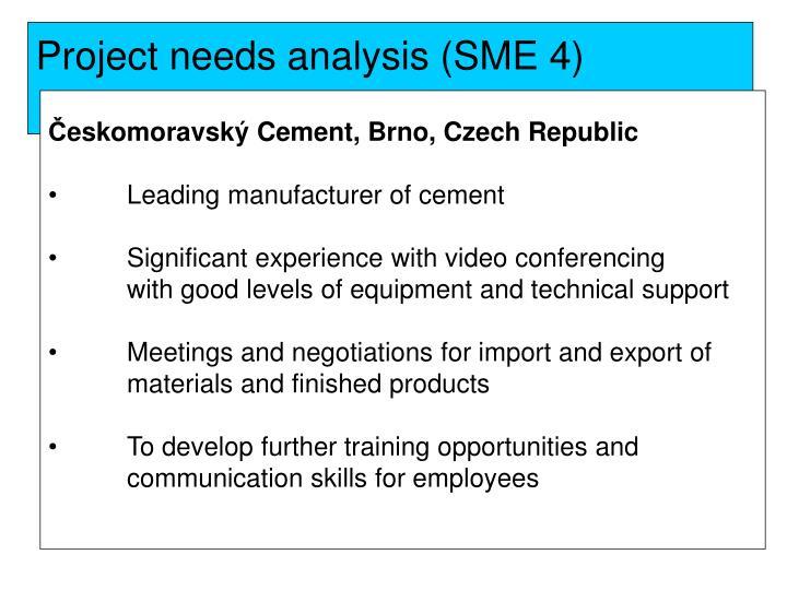 Project needs analysis (SME 4)