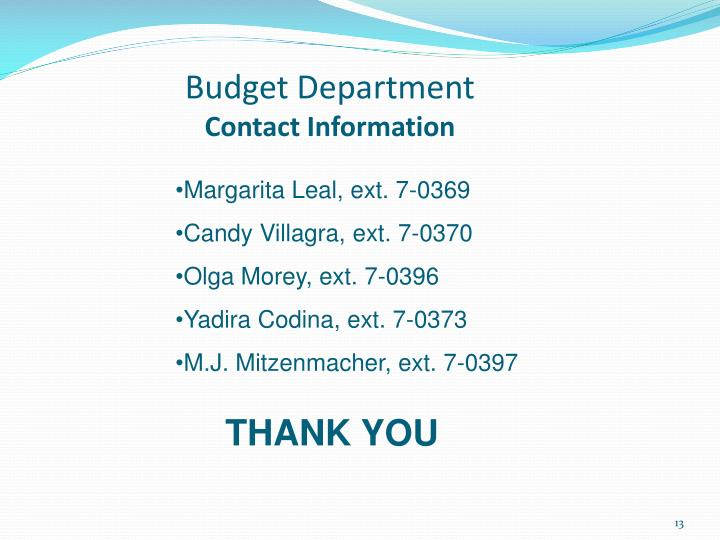 Budget Department