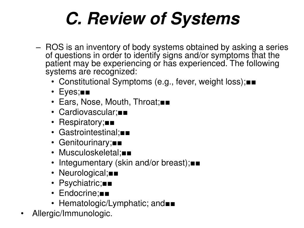 C. Review of Systems